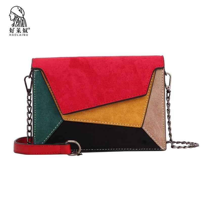 3eb01164018 Women Bags Vintage Scrub Leather Patchwork Messenger Bag Flap Clutch Bags  Designer Mini Female Chain Shoulder Bag Women Handbag