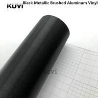 1,52x28 м/Roll черный металлик матовый Алюминий винил автомобиля Обёрточная бумага фильм металлической щеткой фильм автомобиля Обёрточная бума