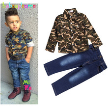 2Piece/2-8Years/Spring Autumn Kids Clothes For Baby Boys Suit Casual Camouflage Shirt+Jeans Brand Children's Clothing Set BC1376