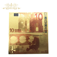 10pcs/lot Nice Colored Europe Gold Banknotes 10 Euro In 24k Foil Plated Fake Money for Collection