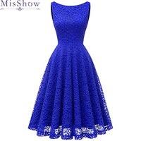 Elegant Royal Blue O Neck Lace Short Evening Dresses 2019 Lace A line Graduation Dress Formal Evening Gown Party Robe De Soiree