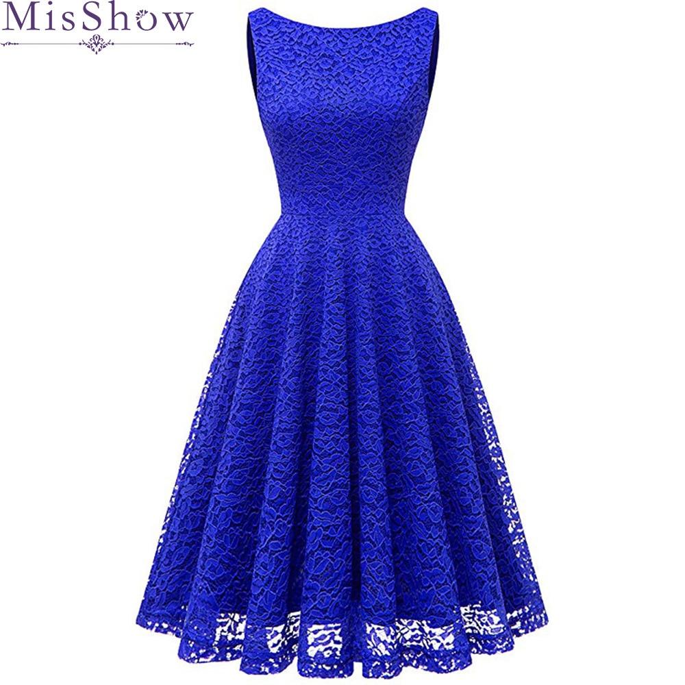 Misshow Evening Dress 2019 Elegant Royal Blue Lace Short Formal Gown 2020 A Line Scoop Neck Sleeveless Robe De Soiree
