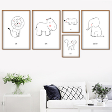 Cartoon Lion Elephant Flamingo Monkey Nordic Posters And Prints Wall Art Canvas Painting Nursery Pictures Kids Room Decor