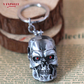 2016 Fashion Movie Jewelry The Terminator Metal Keychain & Ring Antique Silver Plated Skull Head Red Eye Keychain Gifts For Men