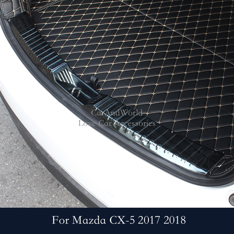 For Mazda CX-5 CX5 2017 2018 Rear Door Sill Plate Protector Tail Trunk Bumper Guard Cover Trim Car Styling Accessories 1 stainless steel rear trunk sill inner outer scuff bumper protector plate cover trim for mazda cx 5 cx5 2nd gen 2017 2018