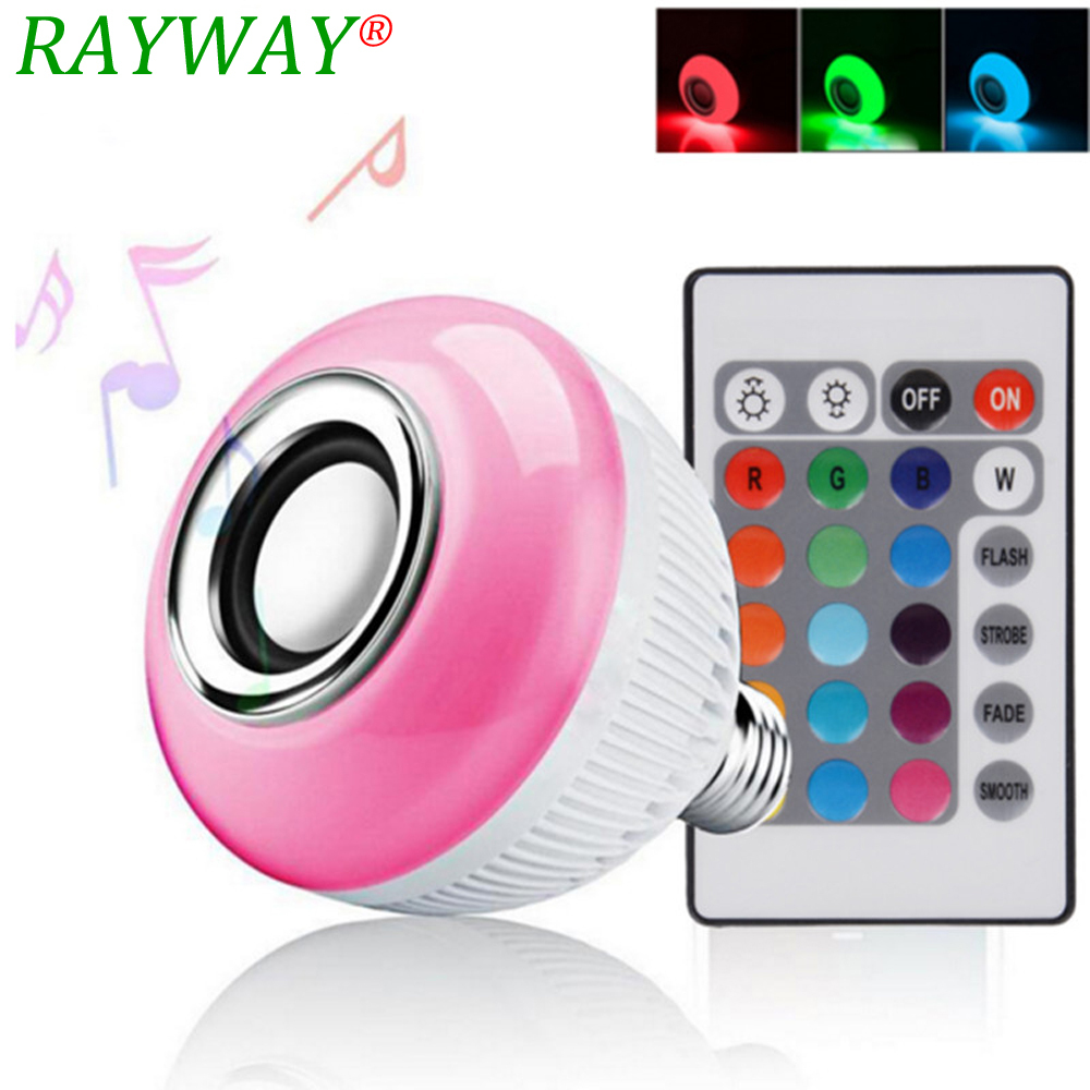 RAYWAY E27 Smart Bulb Light Dimmable 12W RGBW Wireless Bluetooth Speaker Bulb Music Playing LED Light Lamp with Remote Control
