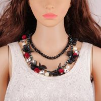 Brand New Design Beaded Seeds Flower Cluster Chunky Choker Bib Statement Collar Necklace Jewelry for Ladies Drop Shipping