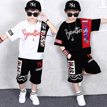 2019 Summer kid Sport Suits Teenage Boys Clothing Set Short Sleeve T Shirt & Pants dancing hip hop 10 12 Years Child Boy Clothes 2017 new fashion print baby boys t shirt hip hop dance harem pants boy 4 6 8 10 12 14 year sport clothes suits kids clothing set