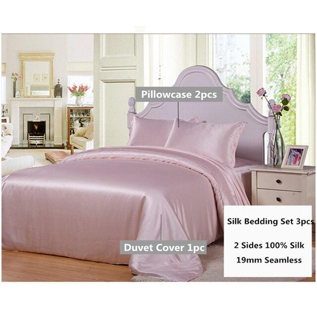 الحرير الفراش مجموعة 3 قطع 19 ملليمتر سلس جديد 100% التوت الحرير لحاف غطاء أكسفورد المخدة متعدد الألوان متعددة حجم ls030019006