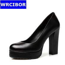 2017 NEW Women's Pumps Genuine leather Round toe High-heeled shoes Lady  Comfortable Thick Heels platform High Heels woman