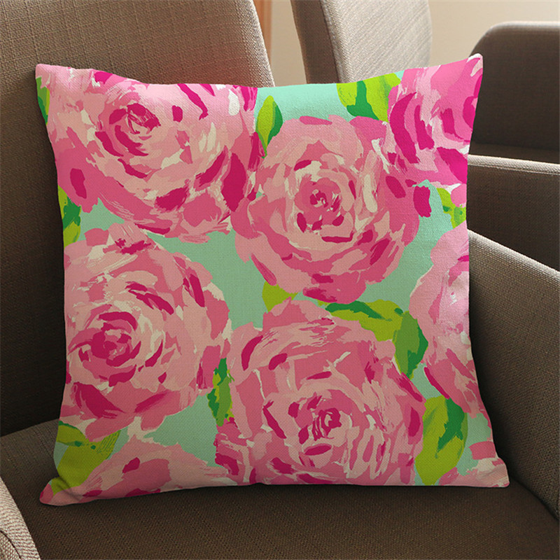 Colorful flower European style pink Geometric painting Pillow case CushionCover Sofa Car coffee shop club Home living Decorative