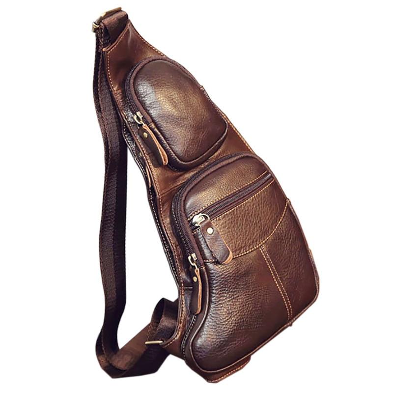 Högkvalitativa män Äkta läderkohid Vintage Sling Bröstback Dag Pack Travel Fashion Cross Body Messenger Shoulder Bag