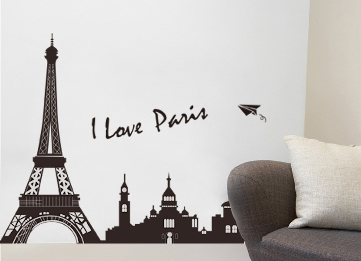 Free Shipping Black Eiffel Tower Vinyl Bedroom Restaurant Backdrop Large  Wall Stickers 200 Cm * 80 Cm In Wall Stickers From Home U0026 Garden On  Aliexpress.com ...
