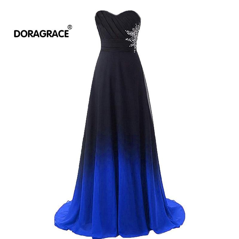 Doragrace robe de soiree Sweetheart Sleeveless A-Line Gradient Chiffon Long Evening Dress Beaded Prom Gowns