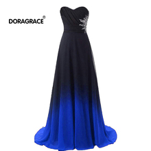 Doragrace robe de soiree Sweetheart Sleeveless A-Line Gradient Chiffon Long Evening Dress Beaded Prom Gowns