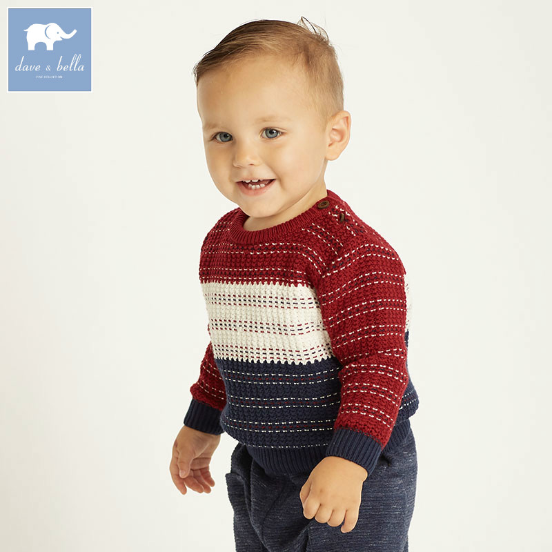 DB6216 dave bella autumn infant baby boys cotton pullover sweater lovely clothes toddler children knitted Sweater db4013 dave bella autumn baby girl sweet design sweater toddler sweaters infant clothes girl soft sweater high quality