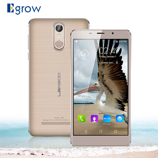 Original Leagoo M8 MTK6580A Quad Core Android 6.0 Mobile Phone 5.7 Inch Fingerprint Cell Phones 2G RAM 16G ROM Unlock Smartphone