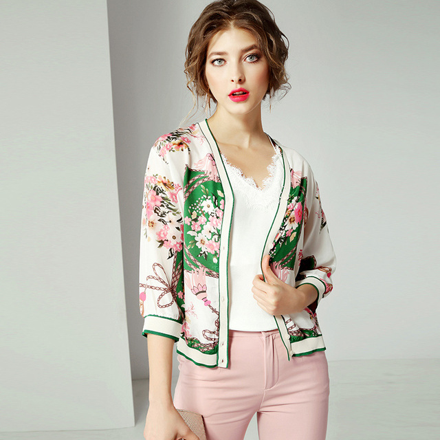 High Quality 100% Silk Jacket Women Lightweight Fabric Printed Long Sleeves Casual Bomber Coat Fashion Style New Fashion 2019