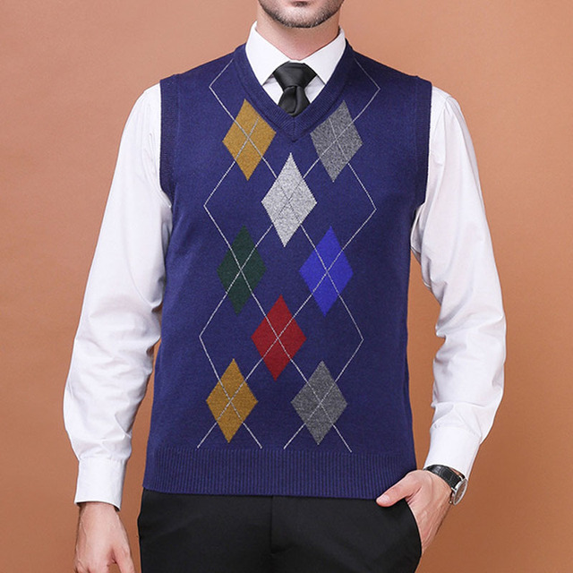 Men Autumn Spring Wool Knit Vest Argyle Pattern Pullovers Sleeveless