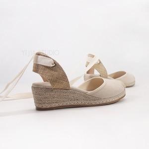 Image 3 - 5cm wedge heel women summer espadrilles sandals in beige and black color