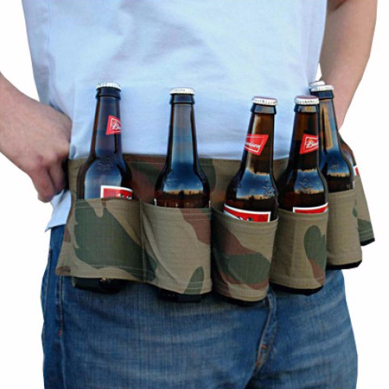 Image 3 - Outdoor Climbing Camping Hiking 6 Pack Holster Portable Bottle Waist Beer Belt Bag Handy Wine Bottles Beverage Can Holder-in Storage Bags from Home & Garden
