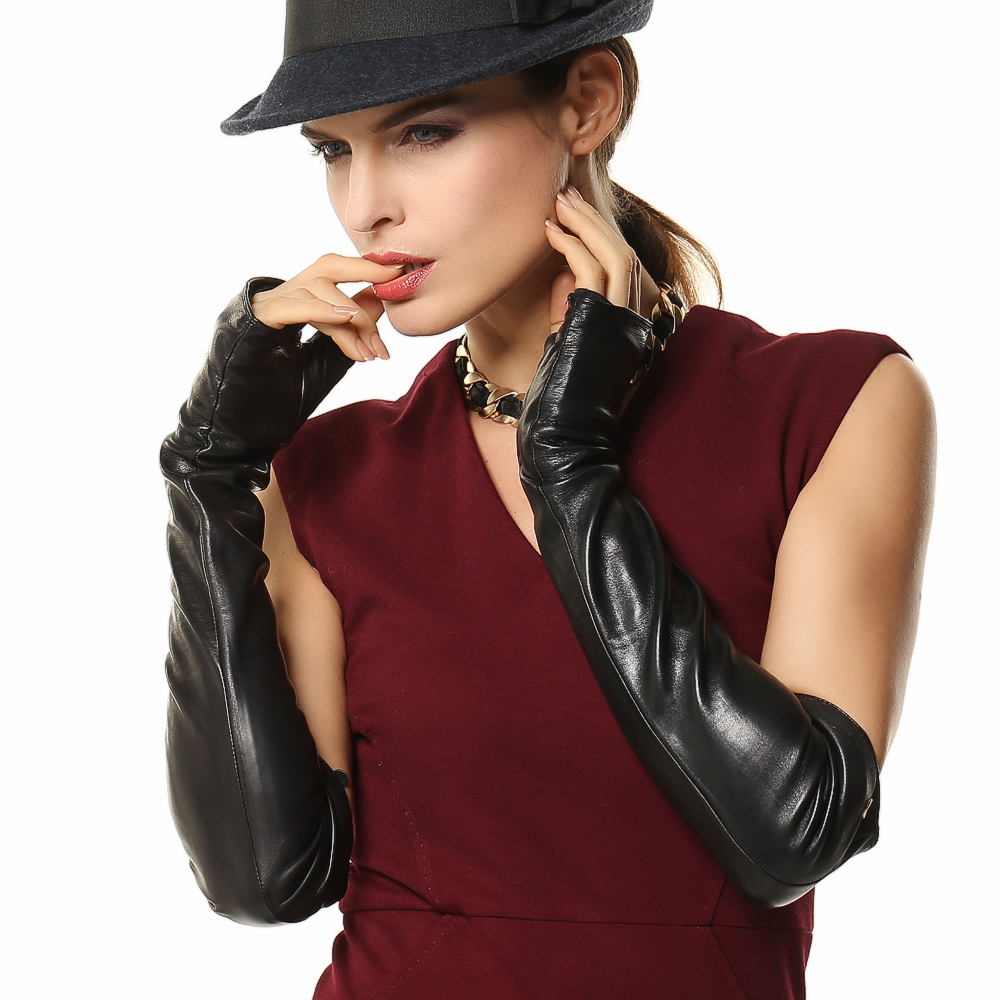 Fashion Fingerless <font><b>Gloves</b></font> 49cm Long Real Genuine Leather For Banquet Opera Women Half Finger Solid Sheepskin <font><b>Glove</b></font> EL016NN