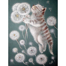Full square/Round Diamond Painting Cross Stitch cat with Dandelion Rhinestone Crystal Needlework Embroidery Decorative