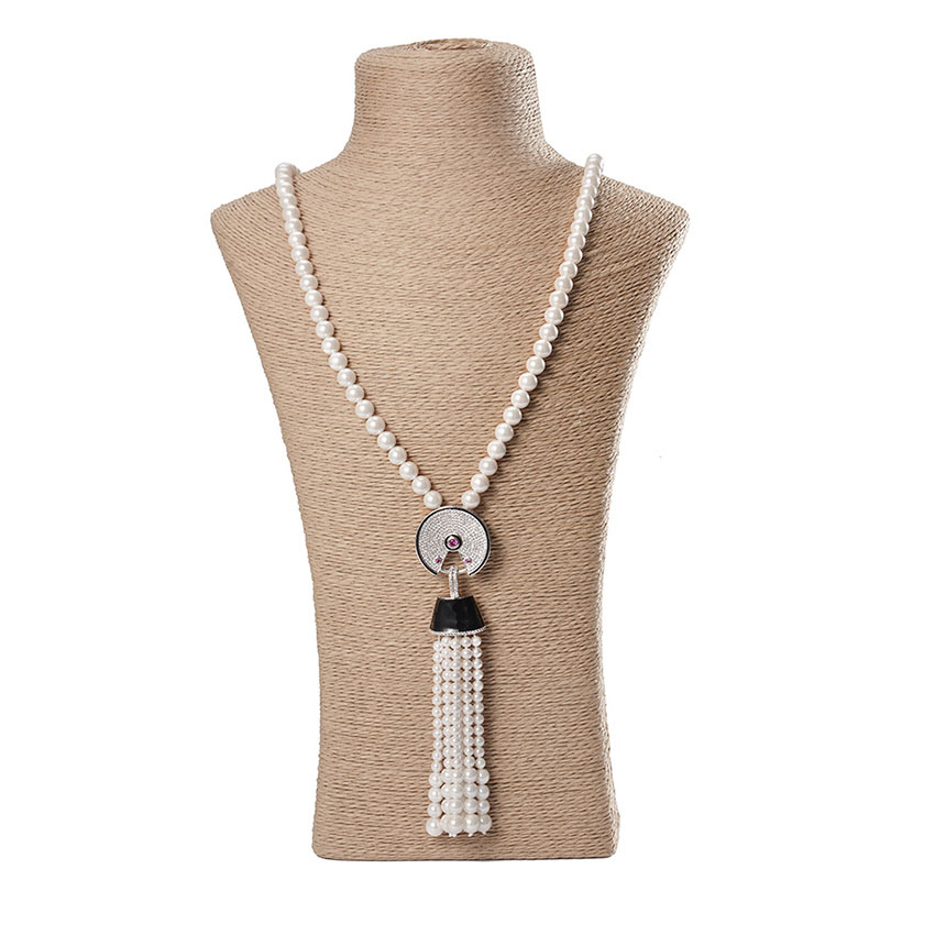 Fashion Cute Beads Strand Long Pearl Chains Necklace Freshwater Tassel Pure Pearl Pendants Necklaces For Women