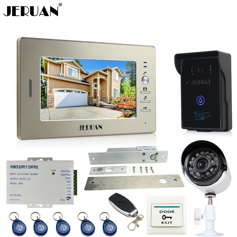 JERUAN Home 7 inch LCD video door phone intercom System monitor brand new RFID waterproof Touch Camera+700TVL Analog Camera jeruan home 7 inch lcd screen video door phone intercom system 1 monitor 700tvl rfid access camera remote control in stock