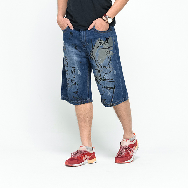 Casual Baggy Jeans Shorts Denim Men Skateboard Trousers New 2018 Dark Blue Plus size 30-46