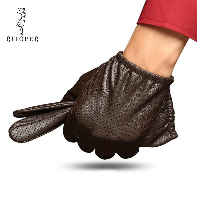 RITOPER Man Thin Section Warm Sheepskin Touch Screen Gloves Mesh Glove Autumn & Winter Driving Sunscreen Windproof Leather Glove