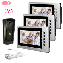 Best Buy For 3 Apartment Video Door Phone For Home Security Camera Night Vision Metal Waterproof Camera 7inch Color Video Intercom Phone