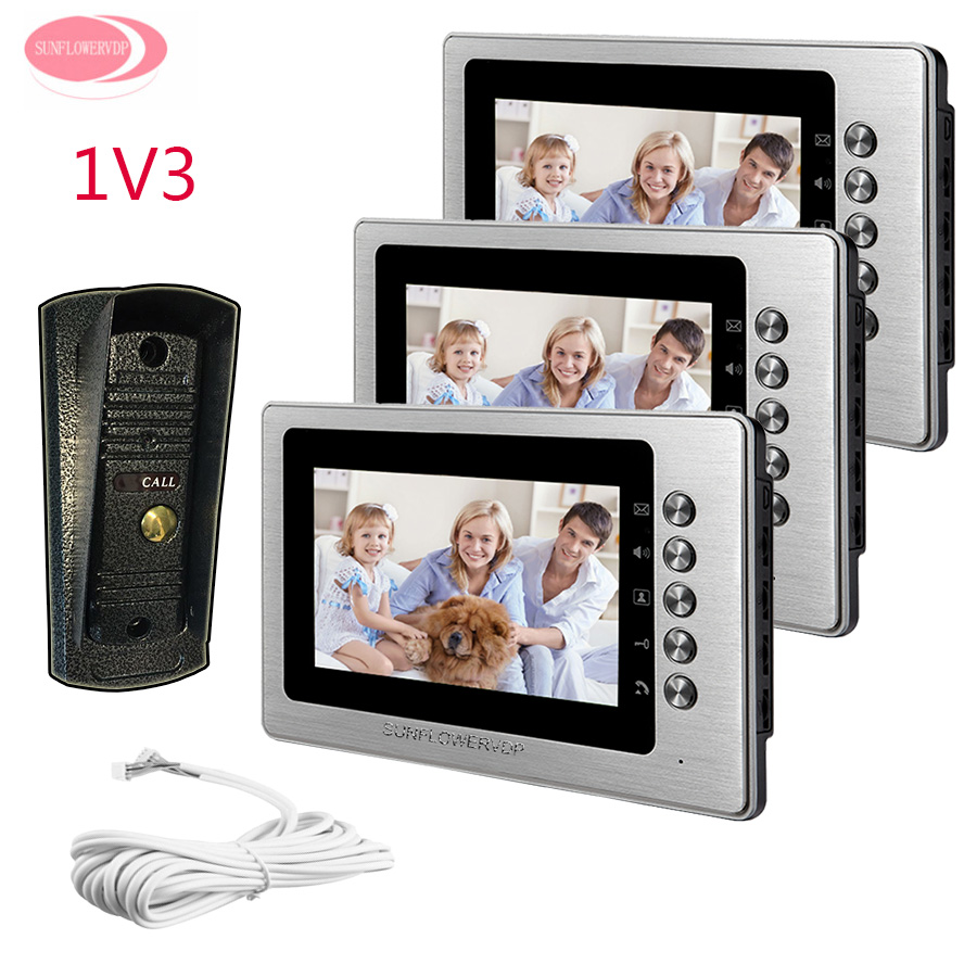 For 3 Apartment Video Door Phone For Home Security Camera Night Vision Metal Waterproof Camera 7inch Color Video Intercom Phone