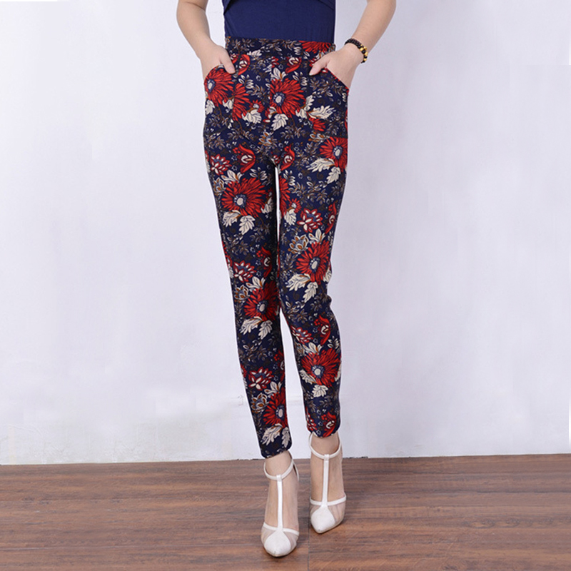 winter leggings for women flower printing fleece thicken warm leggings elsatic slim fitness fashion pants black floral trousers