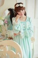 High Quality Women Sleepwear Winter Sleepwear Warm Cotton Nightgown Vintage Nightdress Princess Nightgown Dress Free Shipping