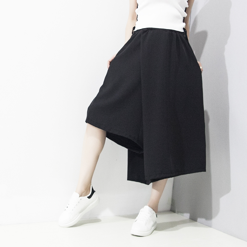 2017 Summer and Spring New Fashion Women Pants Asymmetric Casual Loose Pants Solid Color Wide Leg Pants