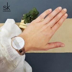 Image 3 - Shengke Rose Gold Creative นาฬิกาควอตซ์ผู้หญิงต่างหูสร้อยคอ 2019 SK Ladies นาฬิกาชุดเครื่องประดับหรูหราของขวัญ Relogio Feminino