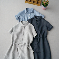 Summer Women Casual Loose Plus Size Japanese Style Brief Mori Girls Water Washed Thin Linen Shirt Dresses