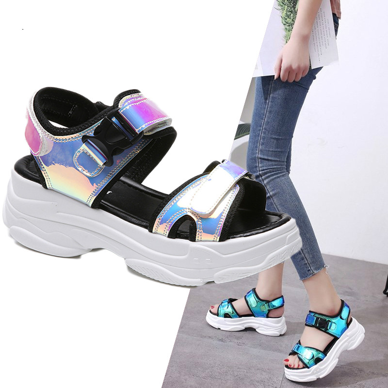 Brand Women Sandals 2019 New Fashion Ladies Casual Shoes Bling Wedges Buckle Strap Platform Shoes 5 CM Summer SandalsBrand Women Sandals 2019 New Fashion Ladies Casual Shoes Bling Wedges Buckle Strap Platform Shoes 5 CM Summer Sandals