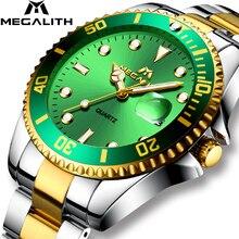 MEGALITH zegarek kwarcowy mężczyźni wodoodporny zegarek analogowy zegarek kalendarz Top marka luksusowe męskie zegarki ze stali nierdzewnej Relogio Masculino