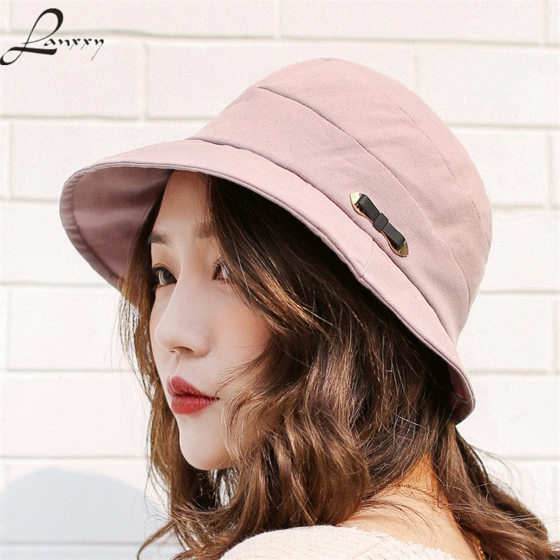 Lanxxy New Cotton Women Bucket Hats Solid Panama Summer Fishing Hat Female Caps