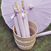 [ Fly Eagle ]Free Shipping 30pcs/lot purple color paper parasol / umbrella with ribbon adult for wedding favor