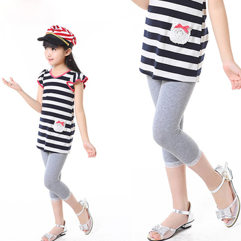 2019 girls new Leggings 4-11 years old Cropped trousers children's wear girls casual pants female baby pants pencil pants hot 1