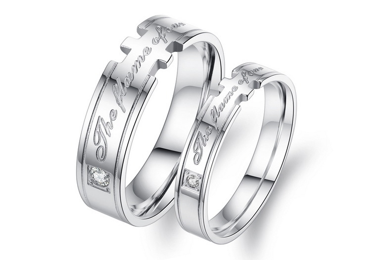 The flame of love Lovers ring Titanium stainless steel silver plated wedding Ring couples Valentines Day gift