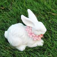 Creative arts and crafts ceramic white rabbit animal decoration exquisite lovely delicate porcelain painting