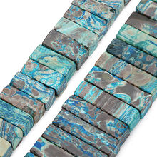 LOULEUR 5pcs 23X9mm 32X9mm Natural Stones Beads Beach Blue Rectangle Agates for Necklace Bracelet Jewelry Making Finding