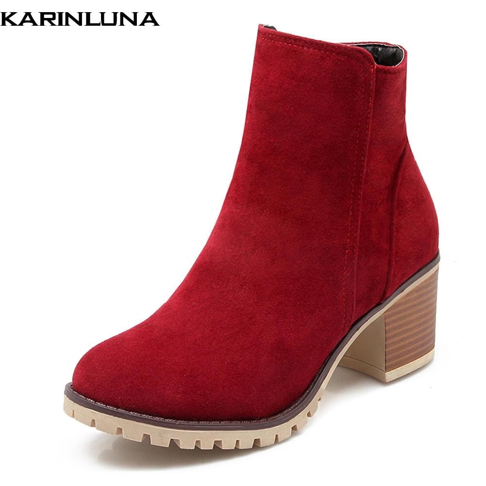 KarinLuna 2018 Fashion Large Size 34-43 Platform Square Heels Zip Up Ankle Boots Women Shoes Winter Booties Shoes WomanKarinLuna 2018 Fashion Large Size 34-43 Platform Square Heels Zip Up Ankle Boots Women Shoes Winter Booties Shoes Woman
