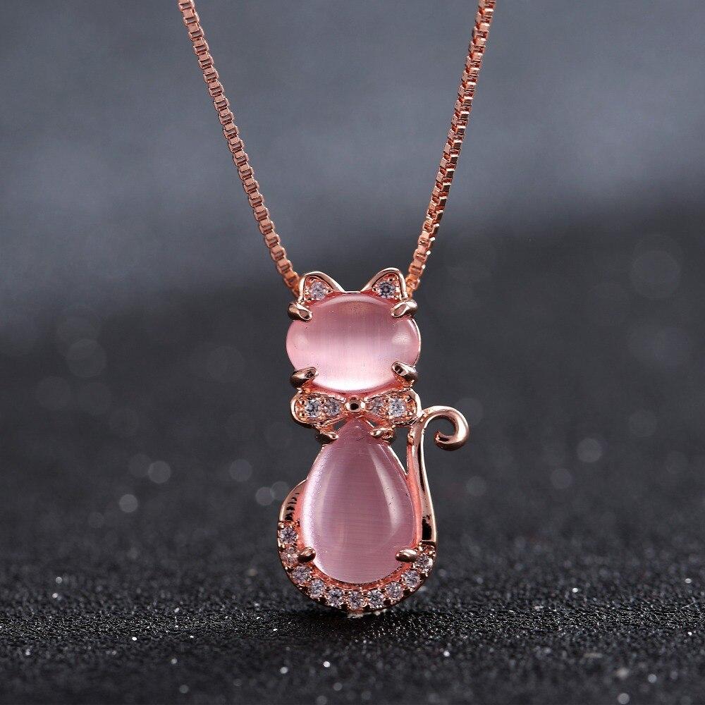 rose gold pink quartz cat necklace earrings and ring. Black Bedroom Furniture Sets. Home Design Ideas