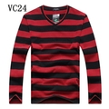 2016 the spring and autumn period and the big yards men's male v-neck collar stripe long sleeve cotton blouse