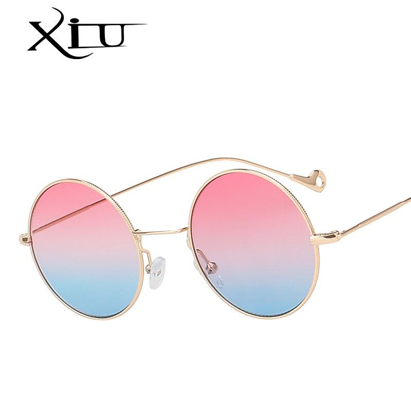 XIU Rotondi Steampunk Occhiali Da Sole Donne Del Progettista di Marca Colore del Mare Moda Occhiali Vintage Retro Occhiali Da Sole per Le Donne Oculos UV400